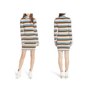 BP. Stripe Mock Neck Sweater Dress